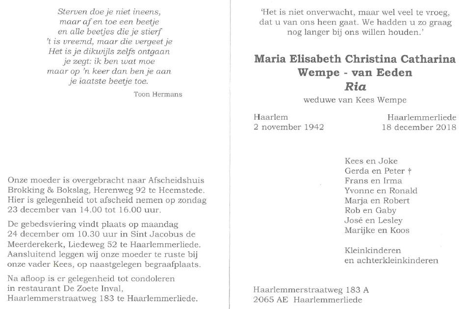 Ria Wempe Overlijden Bowling Vereniging Haarlemmerliede